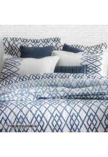 Edredom Blue King Size- Branco & Azul- 250X290Cmsultan