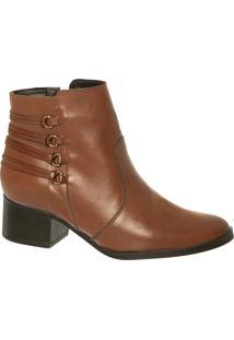 Ankle Boot Em Couro Chocolate Com Tirinhas Trazeiras