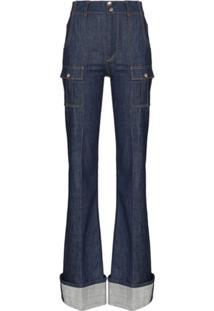 Chloé Calça Jeans Skinny Flare - Azul