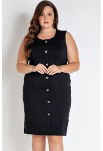 Vestido Plus Size Preto Com Botões Frente