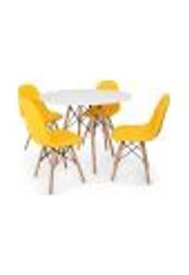 Conjunto Mesa Eiffel Branca 120Cm + 4 Cadeiras Dkr Charles Eames Wood Estofada Botonê - Amarela
