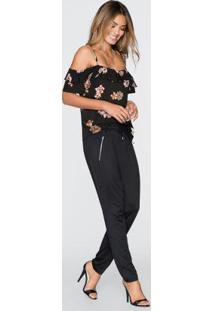 Blusa De Alcinhas Com Babado Preto Floral