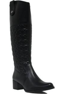 Bota Zariff Shoes Montaria Zíper Feminina - Feminino-Preto