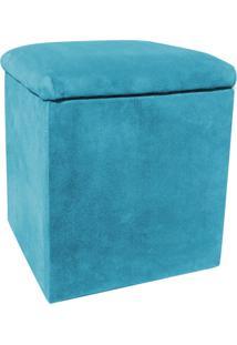 Puff Decorativo Baú Dani Quadrado Suede Azul Turquesa - D'Rossi.