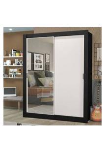 Guarda-Roupa Solteiro Madesa Dallas Plus 2 Portas De Correr Com Espelho 4 Gavetas Preto/Branco Cor:Preto/Branco