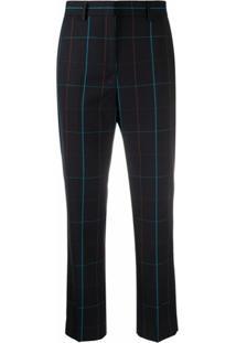 Paul Smith Calça Cropped Com Padronagem Xadrez - Azul