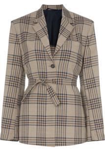 Wright Le Chapelain Weekend Check Print Tie Waist Blazer Jacket - Marrom