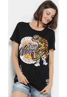 Camiseta Manga Curta My Favorite Thing(S) Tigre Feminina - Feminino-Preto