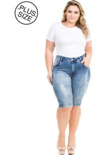 Bermuda Jeans Feminina Squash Com Bolso Plus Size