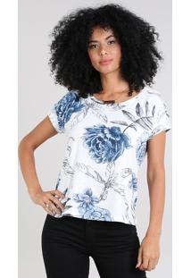 Blusa Feminina Estampada Floral Manga Curta Decote Redondo Off White