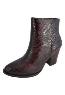 Ankle Boot Salto Sapatoweb Couro Cobra Café