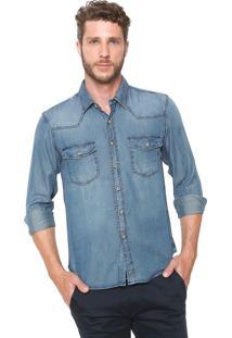 Camisa Jeans Crocker Reta Bolsos Azul