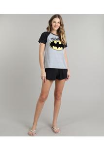 Pijama Feminino Tal Mãe Tal Filhos Batgirl Raglan Manga Curta Cinza Mescla
