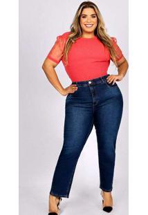 Calça Cropped Almaria Plus Size Fact Jeans Azul