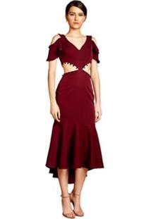 Vestido Curto Mangas Falsas Cropped Feminino - Feminino-Vinho