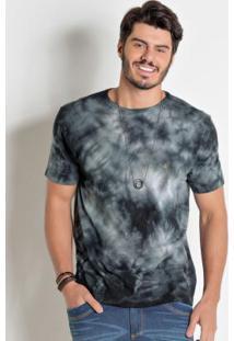 Camiseta Actual Preta Com Efeito Tie Dye