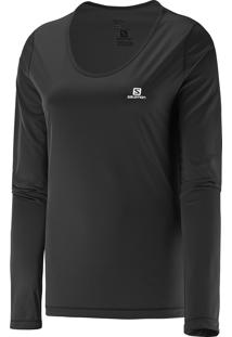 Camiseta Salomon Feminina Long Sleeve Comet Preto Gg