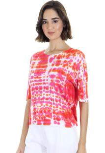 Blusa Manga Curta Estampa Tie Dye Decote Arredondado Coral Aha - Kanui
