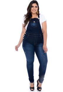 Macacão Jardineira Jeans Xtra Charmy Skinny Blue