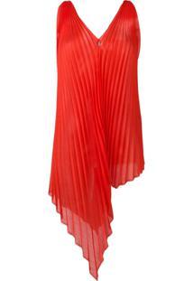 Poiret Blusa Assimétrica Com Pregas - Vermelho