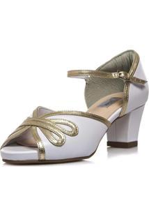 Sandália Noiva Pelica Branca Vintage Salto Confortável - 3538 Branco