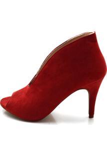 Sapato Scarpin/ Abotinado Toretto Camurça Vermelho.