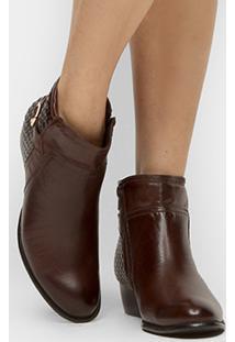 Bota Couro Cano Curto Shoestock Flat Tressê Feminina - Feminino-Marrom