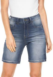 Bermuda Jeans Lunender Reta Pespontos Azul