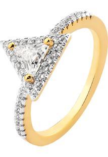 Anel Cristal Triângular Multi Cravejado Banhado A Ouro 18K