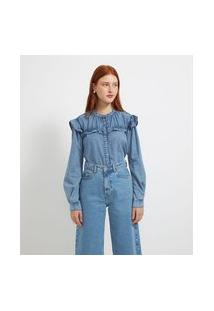 Camisa Manga Longa Jeans Lisa Com Babados | Blue Steel | Azul | G