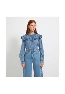 Camisa Manga Longa Jeans Lisa Com Babados | Blue Steel | Azul | Gg