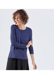 Camiseta Liz Easywear Manga Longa Feminino - Feminino-Azul Escuro
