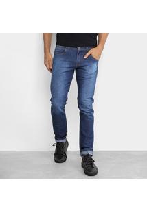 Calça Jeans Coffee Slim Fit Pesponto Masculina - Masculino