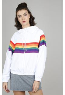 Jaqueta Corta Vento Feminina Pride Arco-Íris Com Capuz Branca
