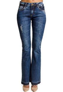 Calça Jeans Boot Cut Desfiada Cantão