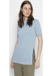 Blusa Canelada Com Fendas - Azul Claroosklen