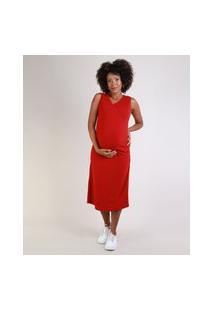 Vestido Feminino Gestante Midi Canelado Transpassado Com Franzido Sem Manga Vermelho