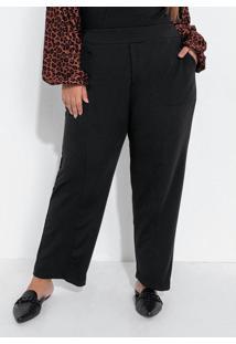 Calça Plus Size Preta Com Elástico E Bolsos