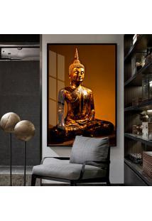 Quadro 150X100Cm Buda Dourado Vidro Cristal E Moldura Preta Decorativo Interiores - Oppen House