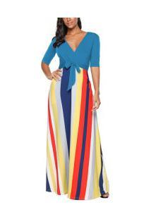 Vestido Longo Com Design Listrado E Manga Curta - Azul Claro