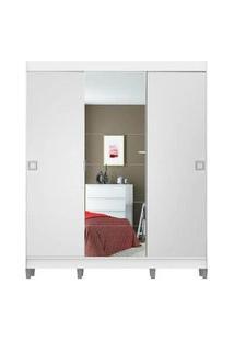 Guarda-Roupa Casal Madesa Veneza 3 Portas De Correr Central Com Espelho Com Pés Branco Branco