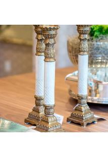 Castiçal De Porcelana Amur Com Detalhes De Bronze