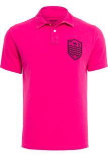Camisa Polo Masculina Stone Brasão - Rosa