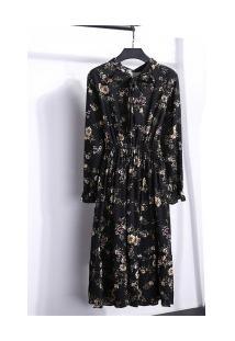 Vestido Madrid Vintage - Preto Com Flores