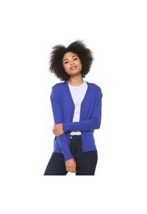 Cardigan Malwee Tricot Básico Azul