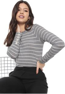 Blusa Banana Republic Soft Stretch Fitted Button-Sleeve Cinza/Off-White