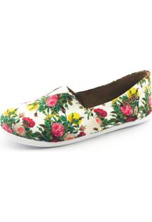 Alpargata Quality Shoes Floral Feminina - Feminino-Branco+Rosa