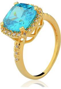 Anel Le Diamond Quadrado Água Marinha Azul