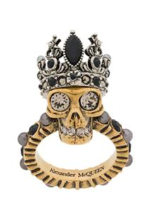 Alexander Mcqueen Queen Skull Ring - Dourado