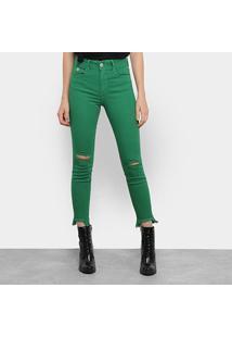 Calça Sarja Skinny Colcci Bia Cintura Média Feminina - Feminino-Verde